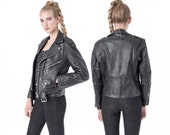 hold LEATHER JACKET women Small black Motorcycle jacket vintage / Rare Small Fit / better Stay together /