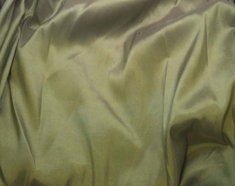 Olive Green - Faux Silk Taffeta Fabric - fat 1/4
