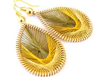 Dandelion..handmade thread earrings by Funky Lobez