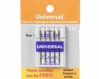 Klasse Carded Universal Machine Needle Size 20/120 5ct