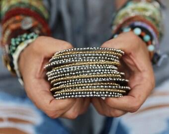 Boho Jewelry, Boho Bracelets, Bohemian Jewelry, ONE Bohemian Bracelet, Stacking Boho Bracelets Set ONE Boho Sterling Silver Stacker Bracelet