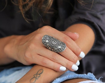 Tribal Ring, Tribal Jewelry, Sterling Silver Ethnic Rings, Wide Tribal Ring, Tribal Jewelry Chunky Ethnic Ring, Wide Tribal Silver Ring