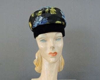 Vintage 1960s Floral Hat Silk & Velvet, 21 inch head, by Consuelo Original, Blue Black Fabric Hat