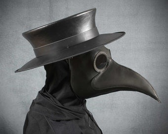 Plague Doctor's mask Maximus in black leather