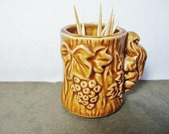 vintage squirrel ceramic toothpick holder