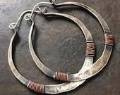 Sterling Silver Hoop Earrings Silver Hoops Wire Wrap Earrings Rustic Hoop Earings Tribal Hoops DanielleRoseBean Silver Hoops