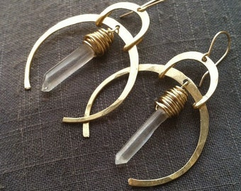 Quartz Dangle Earrings Crystal Earrings Healing Crystal Jewelry Rustic Earrings DanielleRoseBean Raw Gemstone Earrings