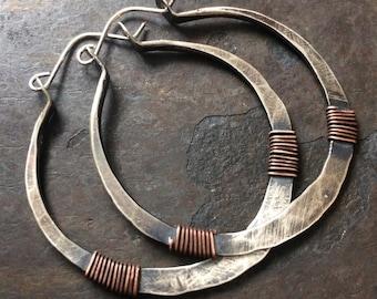 Sterling Silver Hoop Earrings Silver Hoops Wire Wrap Earrings Rustic Hoop Earings Tribal Hoops DanielleRoseBean Silver Hoops Big Silver Hoop
