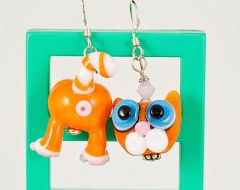 Orange Tabby Cat Butt Face Lampwork Bead Earrings