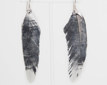 Loved To Death Sterling Silver Dipped Genuine Feeather Earrings