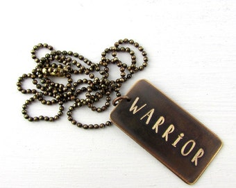 Warrior Necklace - Engraved Dog Tag - Jewelry in Bottle