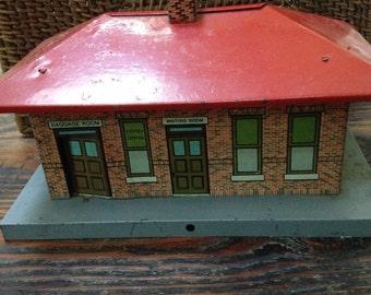 Vintage toy tin Railroad station house