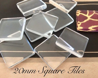 100 Pieces 20mm Clear Glass Squares Tiles Transparent Cabochons Supplies Pendants Jewelry Making Charms