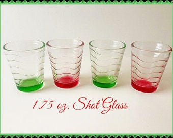 NEW! 4 Red or Green Wave Shot Glasses Glass Barware Holiday Illuminates Christmas Party Favors