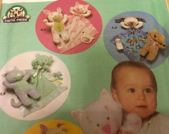 Stuffed Animal and Blanket for Babies Pattern  Uncut Bunny Bear Dog