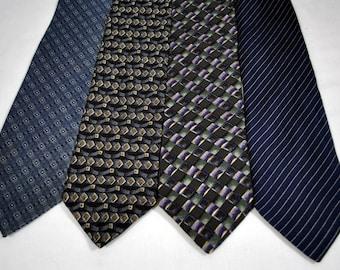 Lot of 4 Blue Silk  Men's Ties - Pitti Uomo - Henry Grethel - Razzoii