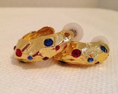 Vintage Hoop Earrings, Yellow Gold Tone Metal with Inlay Crystal Rhinestones, Pierced, Beautiful, Bright & Sparkly. Chunky