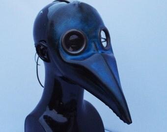Dark Blue Doctor Plague Leather Mask, Party Fancy Dress, Re-enactment etc