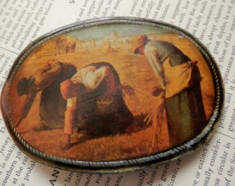 SALE Vintage BELT BUCKLE The Gleaners by Millet
