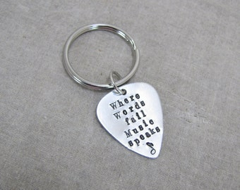 Guitar Pick Keychain, Where Words Fail Music Speaks