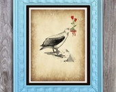 SALE Albatross with roses Print Includes 5 backgrounds Instant Digital Download DIY Print yourself