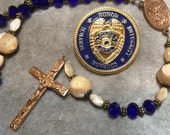 Blue Rosary  Police Medal Crystal Mother of Pearl Bronze  Cable by HeartFeltRosaries.com   HeartFelt Rosaries j