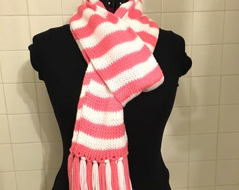 Hand Knit Pink and White striped scarf **Immediate Free Shipping**