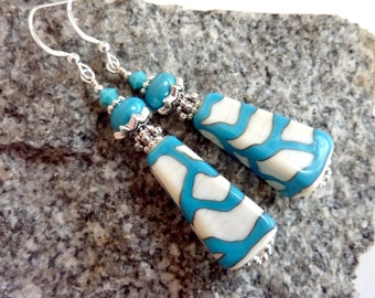Turquoise on Ivory Earrings, Pyramids, Handmade Lampwork Beads, Sterling Silver Earwires