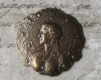 HUGE SALE Antiqued Brass Art Nouveau Peacock Princess With Feathers Medal Pendant