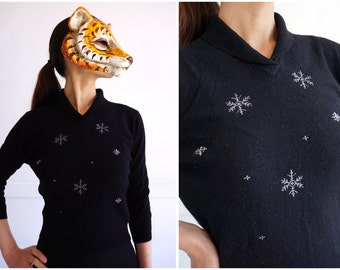 NWT Deadstock Vintage 1950's Black Holiday Snowflake Sweater by Elliot | XS/Small