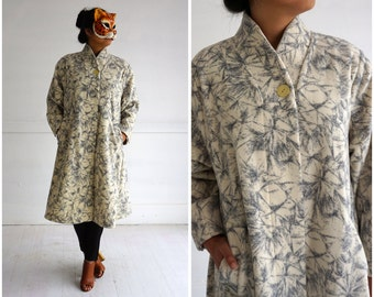 Vintage 1980's Cream and Gray Patterned Jacket by Marimekko   Small