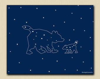 Mama and Baby Bear Printable Mom and Baby Print Nursery Art 8 x 10 Ursa Major Ursa Minor Constellation Print White on Navy Blue Big Dipper
