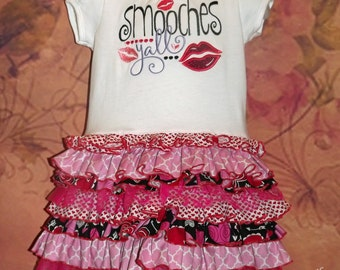 Valentine's Ruffle T-Shirt Dress, Smooches, February, Kisses