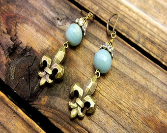 Calvary, Western Cowgirl Southwestern Boho Amazonite Fleur De Lis Earrings- Fleur De Lis Earrings- Amazonite Earrings- Bohemian Earrings