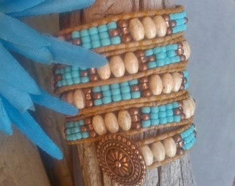 Native American Woven Wrap Bracelet, Beadwork Bracelet, Beaded Leather, Turquoise Wrap, Seed Bead Bracelet, Leather Wrap, DESERT SAND