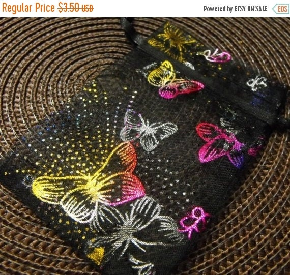 Halloween Stock Up Sale 12 Pack Drawstring Multi Color Butterfly Black Organza Gift and Jewelry Bags 2.75 X 3 Inch Size