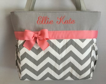 CHEVRON  in Gray ... CORAL  Accents  ...   Diaper Bag... Bottle Pockets .. Zipper Available