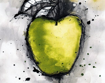 ink painting - A4 -  8x12in - food art - apple painting