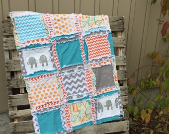 Elephant Rag Quilt Baby Comforter - Orange / Gray / Turquoise - Elephant Crib Quilt Mini Crib Bedding - Safari Nursery Decor- Jungle Nursery