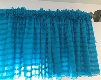 Turquoise Valance Girl Bedroom Decor - 13 inch Valance - Blue Curtains - Sheer Valance Girls Curtains - Ruffle Valance - Country Valance