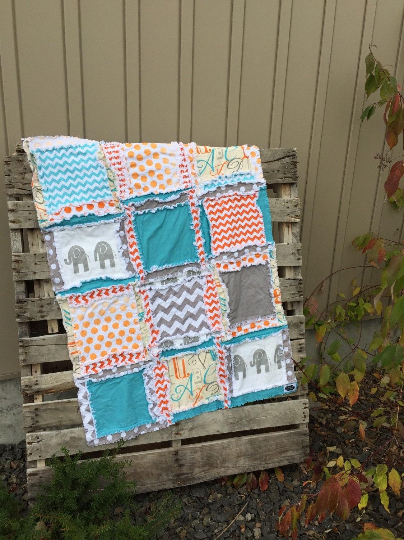 Elephant Nursery Mini Crib Bedding Orange Grey Teal