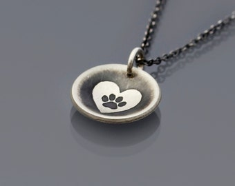 Heart Paw Print Necklace, sterling silver paw print necklace, pet memorial jewelry, tiny paw necklace,