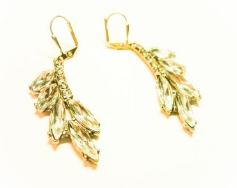 Avenue Stroll Earrings-Curved Antique Gold and Marquis Crystal Vintage Style