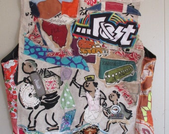 motorcycle mama leather patchwork VEST - Wearable COLLAGE Clothing Art- Altered Upcycled Fabric Scraps --mybonny