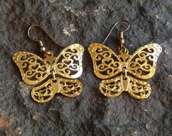 Earrings, Butterfly Earrings, Gold Tone Earrings, Dangle Earrings, Pierced Earrings, Drop Earrings