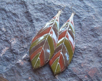 Earrings, Pierced Earrings, Fall Earrings, Leaf Earrings, Vintage 80s Earrings
