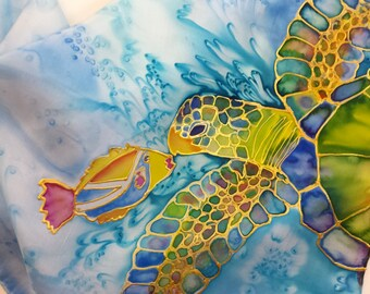 Sea Turtle Original Silk Scarf Handpainted in Kauai Hawaii Silk Scarves Birthday Gift Wearable Art Original Silk Art Honu and Humu Fish
