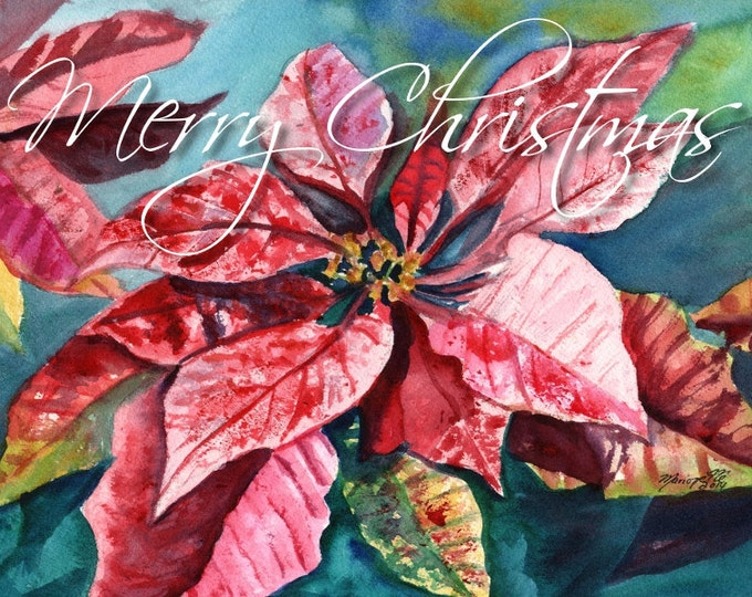 Merry Christmas Poinsettia Printable DIY Christmas card 5x7 pdf from Kauai Hawaii pink red flower holiday Hawaiiana Greeting Cards