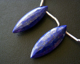 RESERVED - Lapis Marquise Faceted Drops - Pair - 10.5x29.5mm