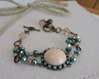 Peach and Aqua Mixed Bracelet